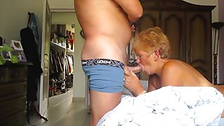 French mature gives blowjob