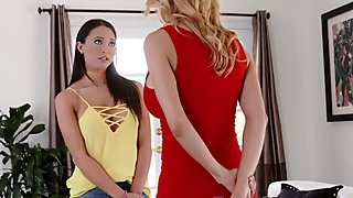 Busty teen and cougar stepmother ride