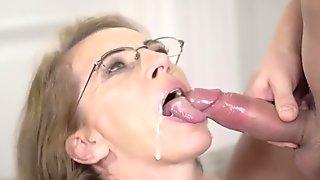 LustyGrandmas Mature Therapist Takes Patient's Cum in Mouth